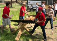 Boy Scouts With Crosscut Saw